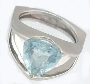 827: 14KW 2ct Aquamarine Trillion Tension Set Ring