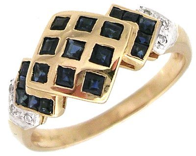 830: 14KY Sapphire Princess Diamond Checkerboard ring