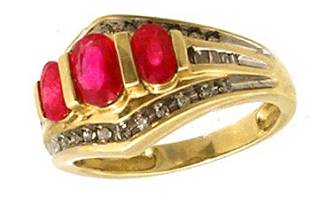 10KY 1.25ct Ruby 3 oval .20ct Diamond Ring