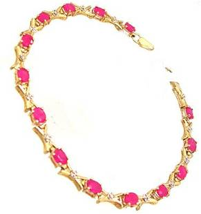 10KY 3cttw Ruby Oval Diamond X Bracelet