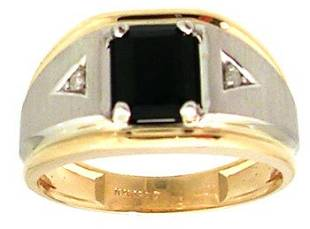 10KT 1.70ct Black Sapphire Diamond 2tone Mens Rin