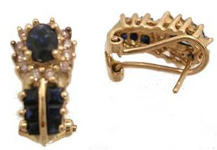 14KY 2cttw Sapphire oval/prn .35 Dia Earring