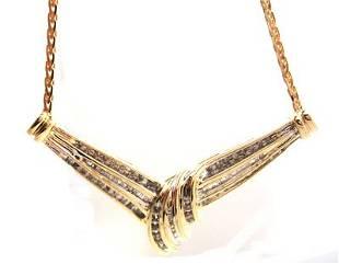 10KY.50ct Diamond Rd Bagg Swirl Bar Necklace