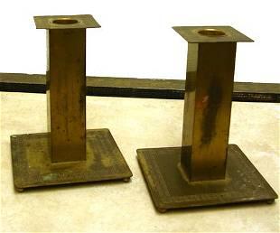 2 Bradley & Hubbard Greek Key Candlesticks