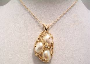14KY Nugget Pearl Wrap Necklace