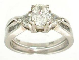 14KW 1ct Diamond Oval Trill Bagg 2pc Ring APP $35