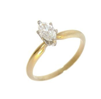1302: 14kY .47ct Marquise diamond solitaire
