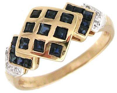 1303: 14KY Sapphire Princess Diamond Checkerboard ring