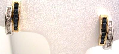 1304: 10KT .15ct Sapphire Princess Diamond 2tone Earrin