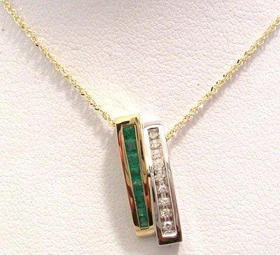 1307: 14KY .25ct Emerald Princess Dia 2Tone Slide Neckl