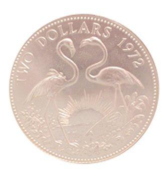 1319: UNC Silver Bahamas $2 Flamingo Coin 1972