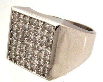 1439: 14KW 1.50cttw Rd Diamond Designer Square Top Mens