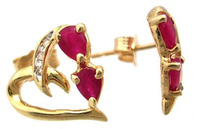 10032: 10KY .12cttw Pear Ruby Diamond Heart Earring