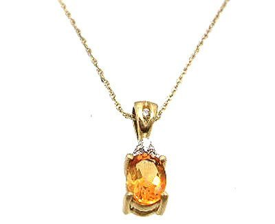 10050: 10KY .75ct Citrine Oval Diamond Necklace