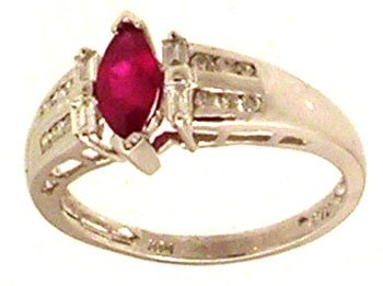 2080: 14KW .62ct Ruby Marquise .30ct Diamond Bagg Rd Ri