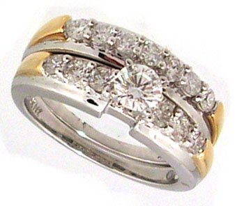 2087: 14KW 1.15cttw Diamond solitaire 2pc Set ring