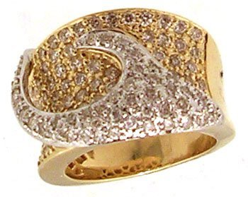 2088: 14KY 1.55cttw Diamond Pave 2 tone Band Ring 14gm