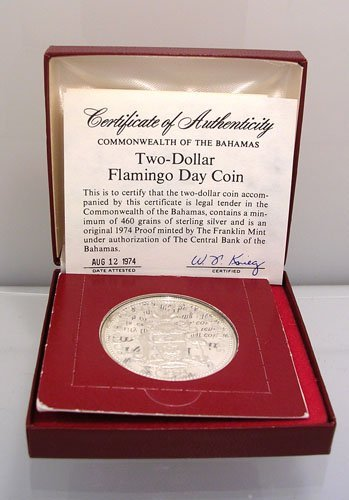 2089: PROOF Silver Bahamas $2 Flamingo Day Coin 1974