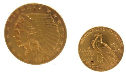 2115: 22KY 1914 D $2.50 Indian Head Gold Coin