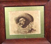 2169: Pen & Ink on Silk by listed artist Louis A. Leloi
