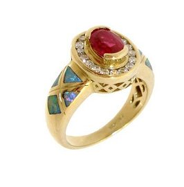 2230: 14KY1.09ct Ruby Oval .29ct Diamond Rd Opal Inlay