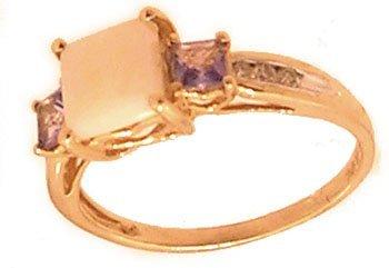 801: 10KY Opal Square .40ct Tanzanite Diamond Ring