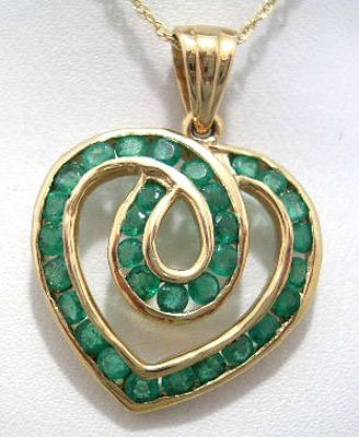 803: 14KY 1.29cttw Emerald Round Channel Heart Necklace