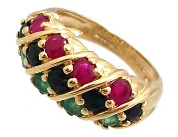 804: 14KY 1.25cttw Emerald Ruby Sapphire dome band ring