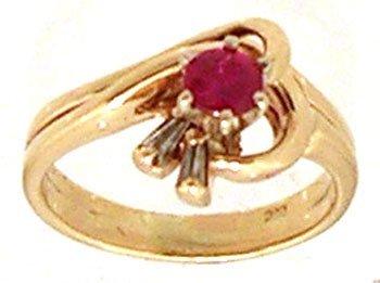 806: 14KY .27ct Ruby Rd Diamond Bagg Ring
