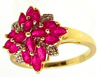 807: 14KY 1.75cttw Ruby Dia Marquise Shaped Ring
