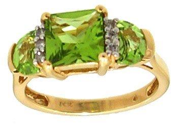 812: 14KY 1.50cttw Peridot Square Diamond designer ring