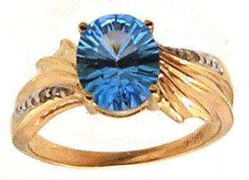 825: 14KY 2.5ct BlueTopaz Oval MilleniumTop Wave Ring