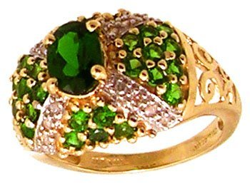830: 14KY 1ct Chrome Diopside oval pave .10dia ring