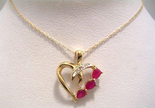 10029: 10KY .18cttw Pear Ruby Diamond Heart Necklace