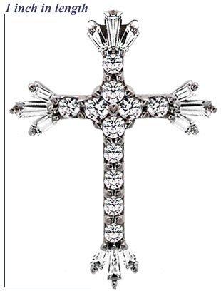 10043: 14KW Cubic Zirconia cross pendant