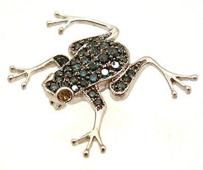 1102: 14KW 1.70cttw Blue Diamond Yellow Sapphire Frog P