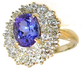 1179: 14KW 3.36ct Tanzanite Oval 2ct Diamond Ring APP$7
