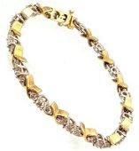 1183: 14KY 5cttw Diamond Round X Link Bracelet