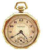 1190: GFilled Swiss 15J Lonville Art Deco Pocket Watch