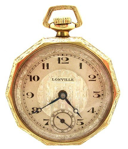 1190: GFilled Swiss 15J Lonville Art Deco Pocket Watch