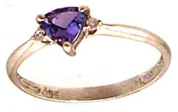 1304: PLT .51ct Tanzanite Trillion Diamond Band Ring