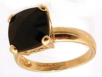 1309: 14KY 10mm Black Onyx Cushion Ckrbd Filigree Ring
