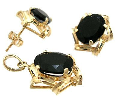 1310: 14KY Black Onyx Oval Faceted Pendant Earring Set