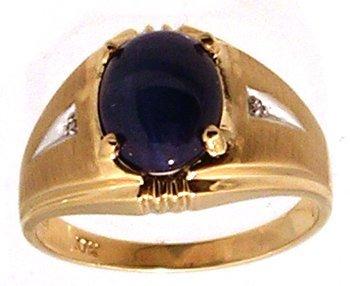 1312: 10KY 10x8mm Blue Star Sapphire Dia Mens Ring