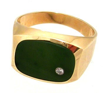 1313: 10KY Green Jade Dia Rectangle Mens Ring 5.1gm