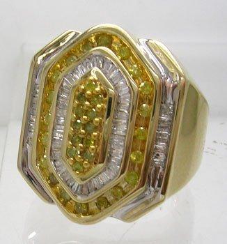 1316: 10KY 1ctw White Yellow Diamond Hexagon mans ring