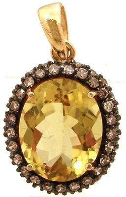 1325: 14KY 3.5cttw Golden Beryl Oval Cognac Diamond Pen