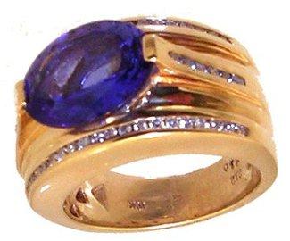 1370: 14KY 4.70ct Tanzanite Ov .45ct Dia Side Ring APP$
