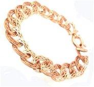 1406: 14KR Designer Oval Filigree Link Bracelet 7.2gm