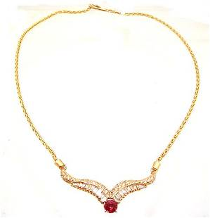 14KY 1.28ct Orange Sapphire 2ct Dia Bagg Rd Necklace